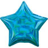 Fóliový balón hviezda holografický tyrkysový